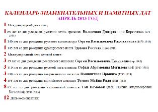 Календарь знаменательных и памятный дат апрель 2013 год