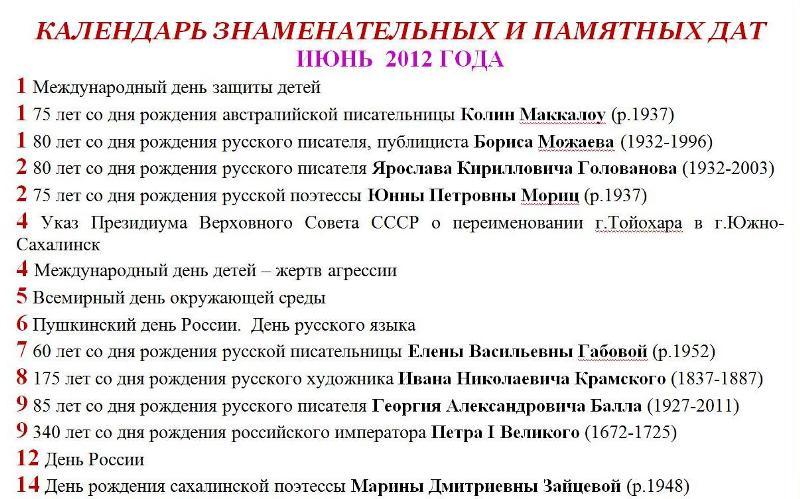 Календарь знаменательных и памятных дат июнь 2012 год
